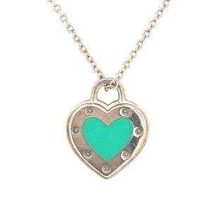 Tiffany and Co. Heart Lock Teal Necklace